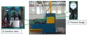 How to increase or decrease compressing pressure for Vertical Bagging Baler
